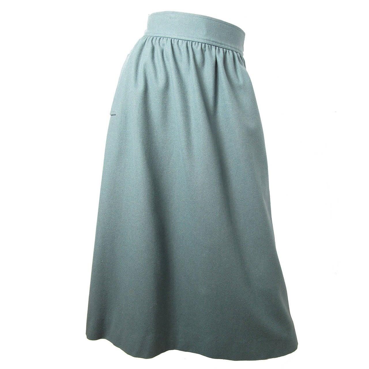 23e06aab1812 Yves Saint Laurent Rive Gauche Blue Skirt with Pockets at 1stdibs
