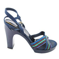 Christian Dior Navy Platforms with Stripes