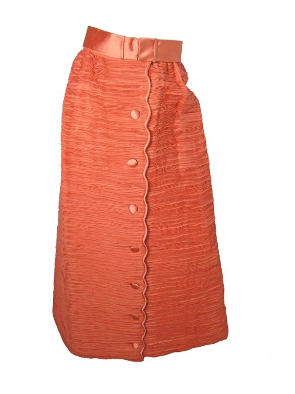 Orange Sybil Connolly Lace Blouse and Pleated Irish Linen Skirt, 1960s Couture For Sale