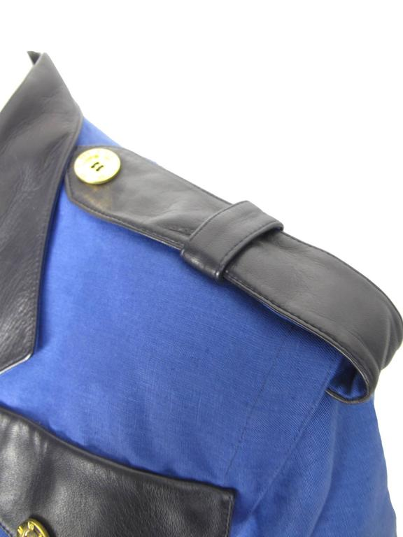 Blue Bernard Perris Linen and Leather Police Top  For Sale