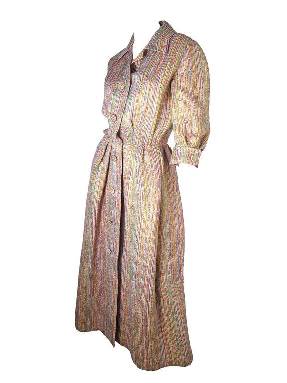1950s Christian Dior Gold Lame + Multicolored Dress - sale 2