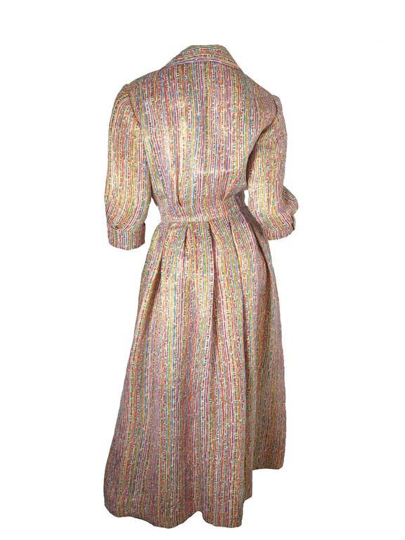 1950s Christian Dior Gold Lame + Multicolored Dress - sale 3