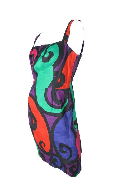Balmain 1980s Printed Linen Dress 3