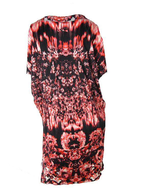 Jean Paul Gaultier Printed Roses and Fire sleeveless Dress  In Excellent Condition For Sale In Austin, TX