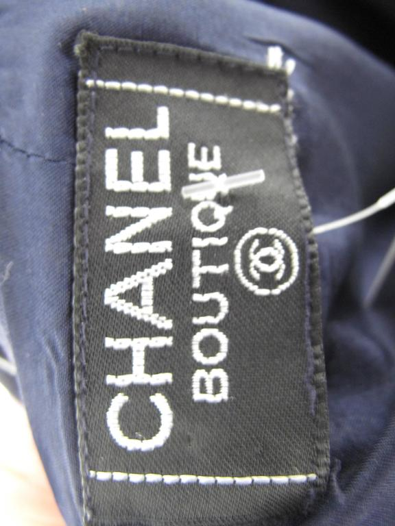"Chanel Navy Cotton Skirt ""CC"" buttons 5"