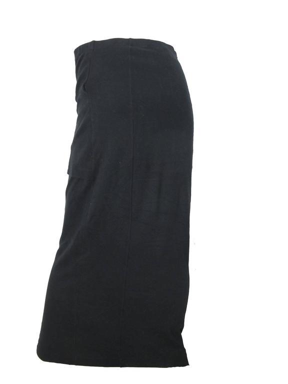 Comme des Garcons black cotton skirt with overlapping front cummerbund.  Size Medium   29