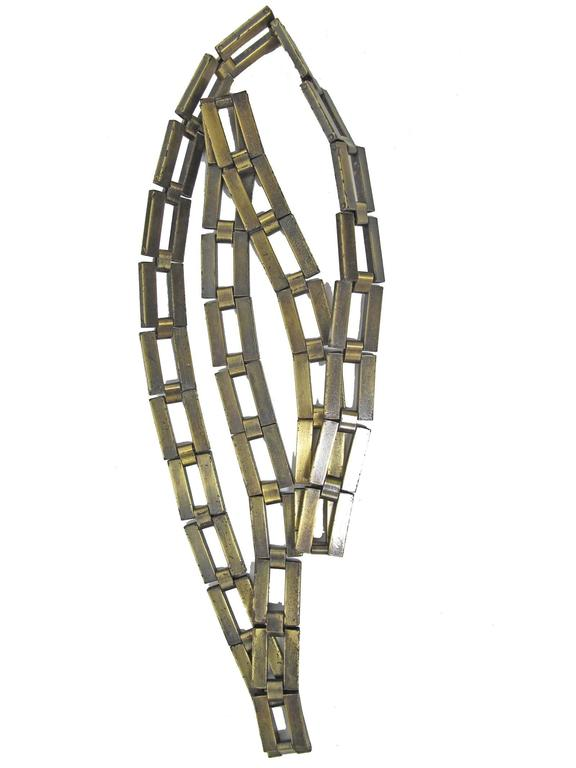 Chanel brass square link chain belt.