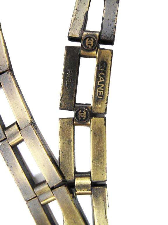 Gray Chanel Brass Square Link Belt For Sale