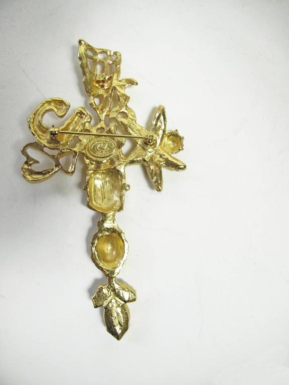 "Christian Lacroix large gold tone cross pin with rhinestones.  Condition: Excellent.  4 1/4"" L x 2 1/4"" W"
