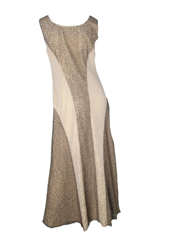 Brown Chanel Evening Gown with Metallic Thread and Beading  For Sale