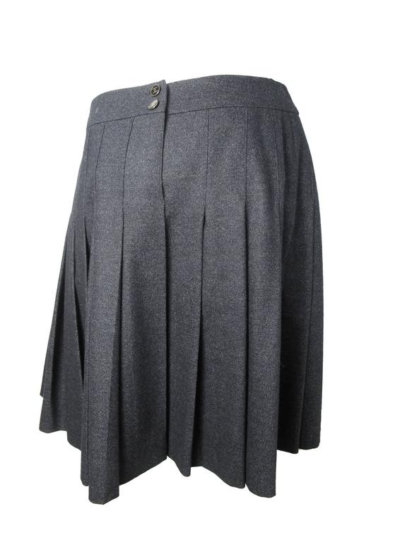 Chanel Charcoal Wool Pleated Skirt 4