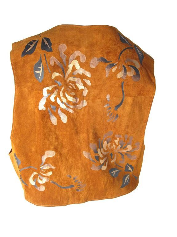 Brown 1980s Char Painted Leaf Vest  For Sale