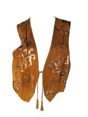1980s Char Painted Leaf Vest
