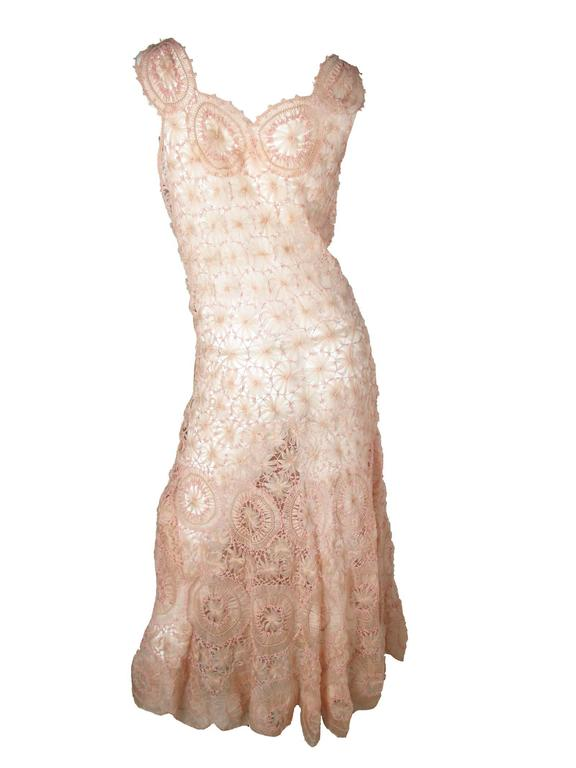 Pink crochet gown. Condition: Very good. Size 6