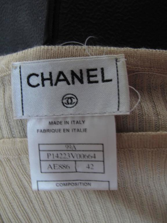 Chanel Beige Cashmere/Silk Ribbed Sweater 5