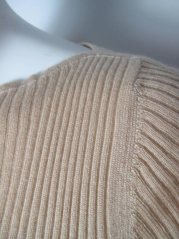 Chanel Beige Cashmere/Silk Ribbed Sweater 4