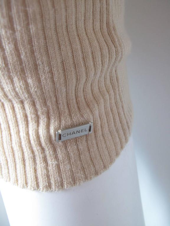 Chanel Beige Cashmere/Silk Ribbed Sweater 3