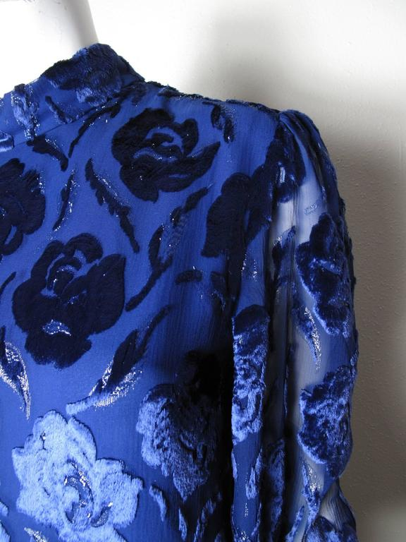 Adele Simpson Royal Blue Floral Burnt Velvet Evening Gown 2