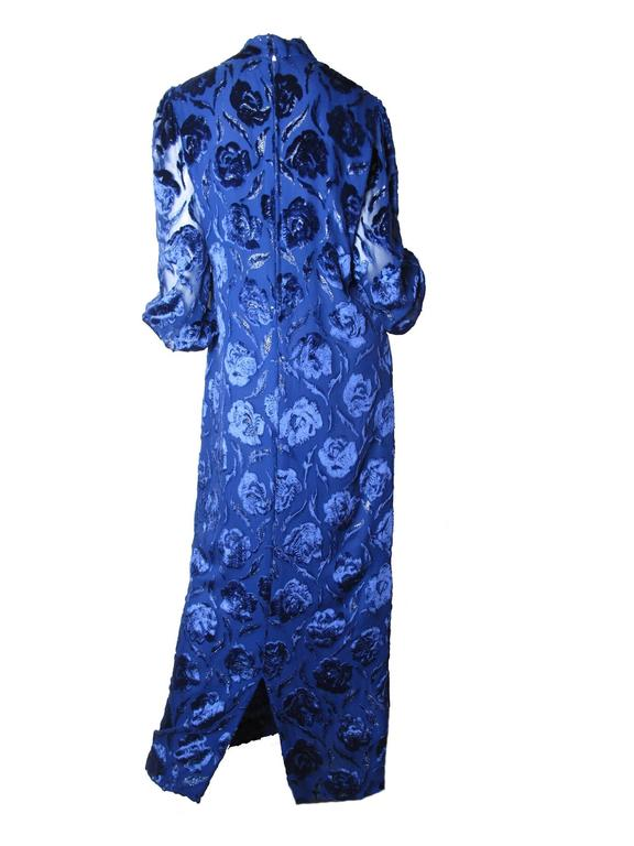 Adele Simpson Royal Blue Floral Burnt Velvet Evening Gown 3