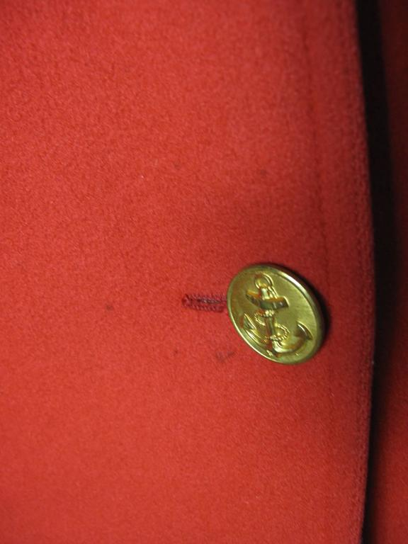 Red 1970s Yves Saint Laurent Pea Coat For Sale