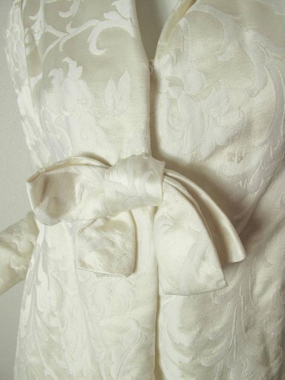1960s Teal Traina Off White Dress 2