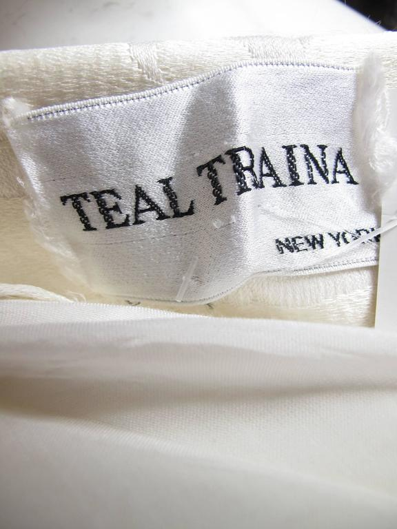 1960s Teal Traina Off White Dress 4