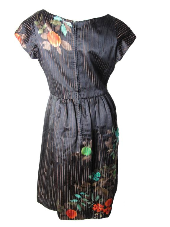 1950s Catherine Scott Satin Cocktail Dress With Floral