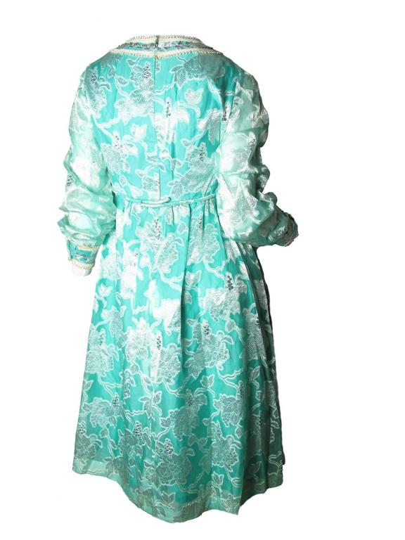 1970s Malcolm Starr Blue and Metallic Floral Print Dress 2