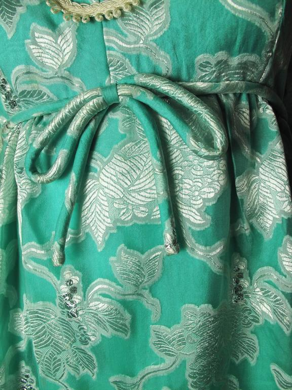 1970s Malcolm Starr Blue and Metallic Floral Print Dress 6