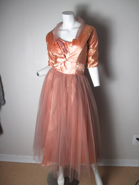 1950s Tulle and Satin Dress with Jacket 3
