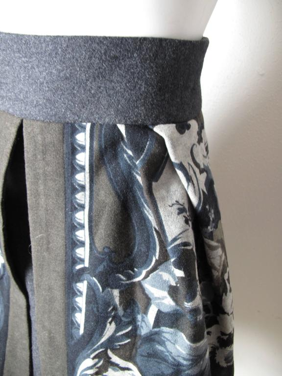 Gray Byblos Printed Skirt with Opening in Front For Sale