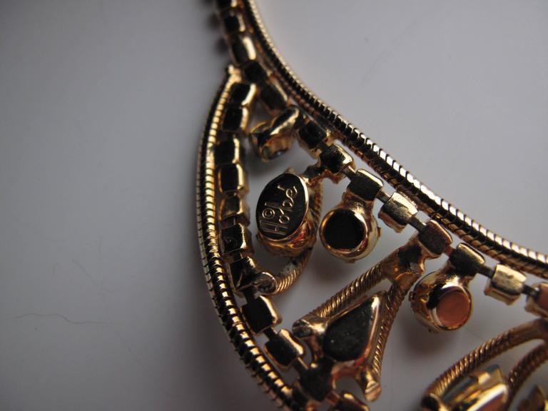 1950s Hobe Snake Chain and Rhinestones Choker / Earring set 3