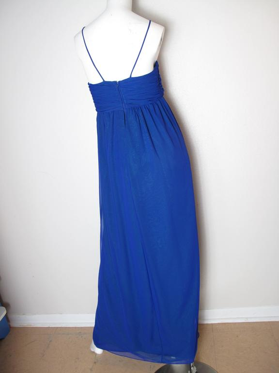 Blue Adele Simpson Two Toned Chiffon Gown, 1970s For Sale