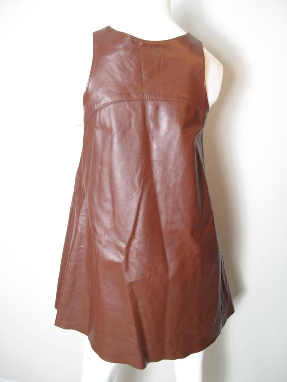 Brown 1970s Anne Klein Leather Jumper For Sale