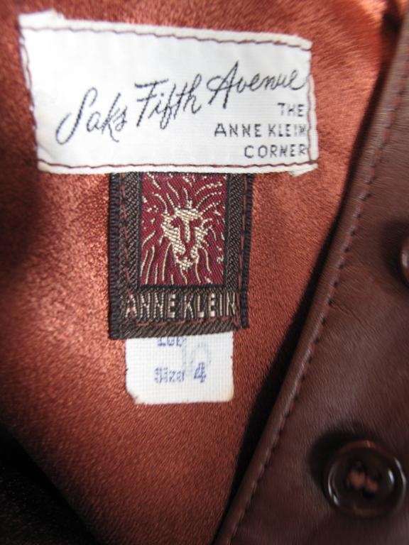 1970s Anne Klein Leather Jumper In Good Condition For Sale In Austin, TX