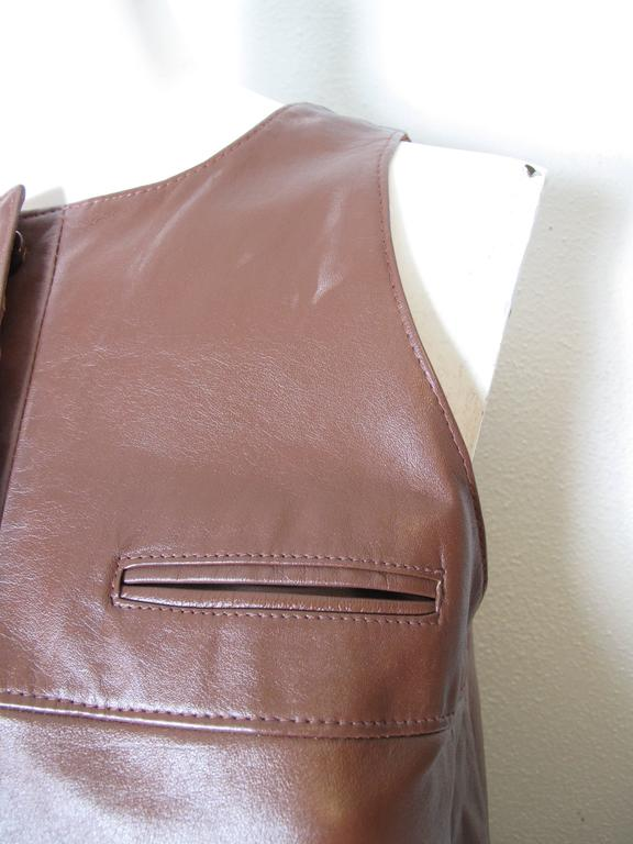 Women's 1970s Anne Klein Leather Jumper For Sale