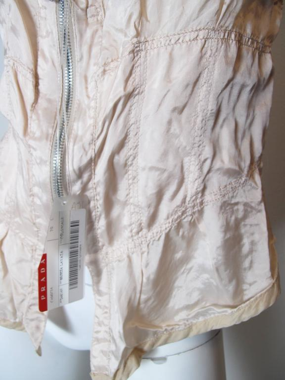 Gray Prada Pale Pink Zip Up Bustier  For Sale