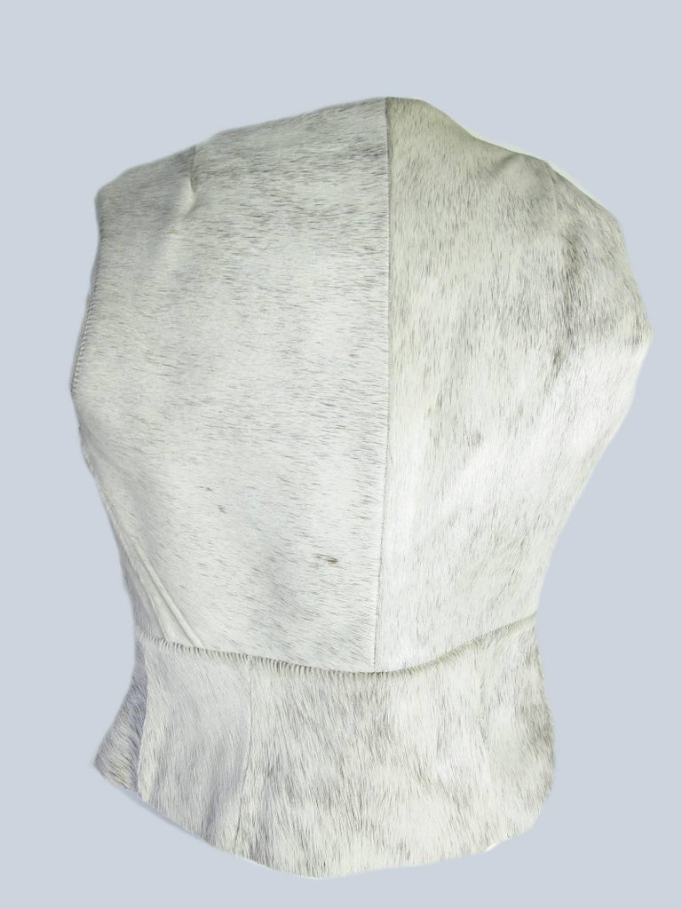 Dries Van Noten Leather Vest with Pin Closure In Excellent Condition For Sale In Austin, TX