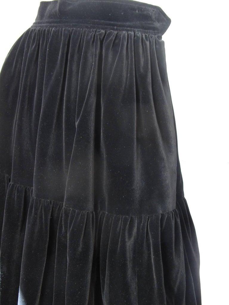 Yves Saint Laurent Rive Gauche Velvet Skirt, 1980s  - sale In Excellent Condition For Sale In Austin, TX