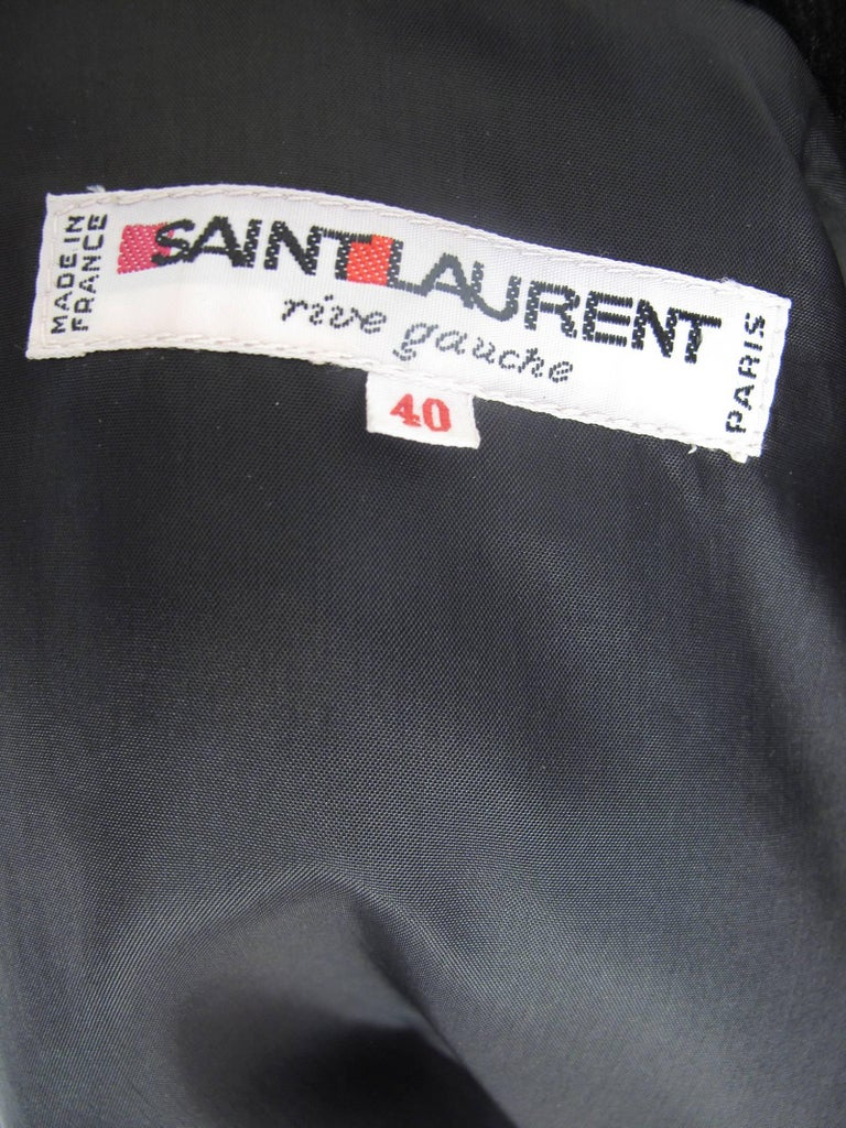 Black Yves Saint Laurent Rive Gauche Velvet Skirt, 1980s  - sale For Sale