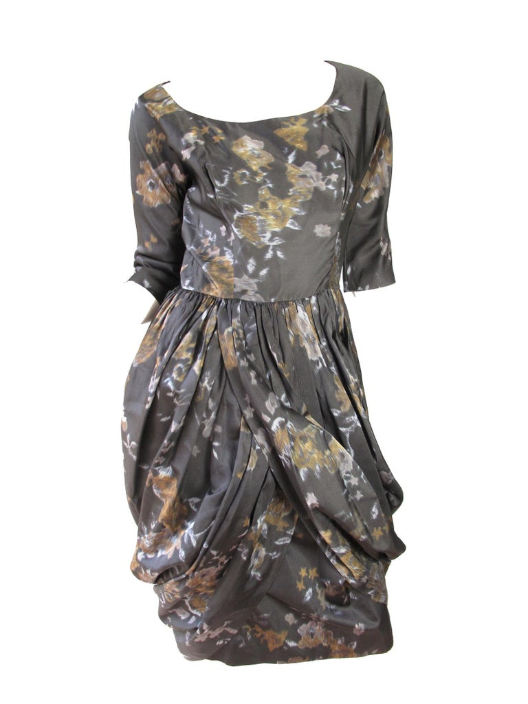 Women's Ceil Chapman Floral Silk Dress, 1950s  For Sale