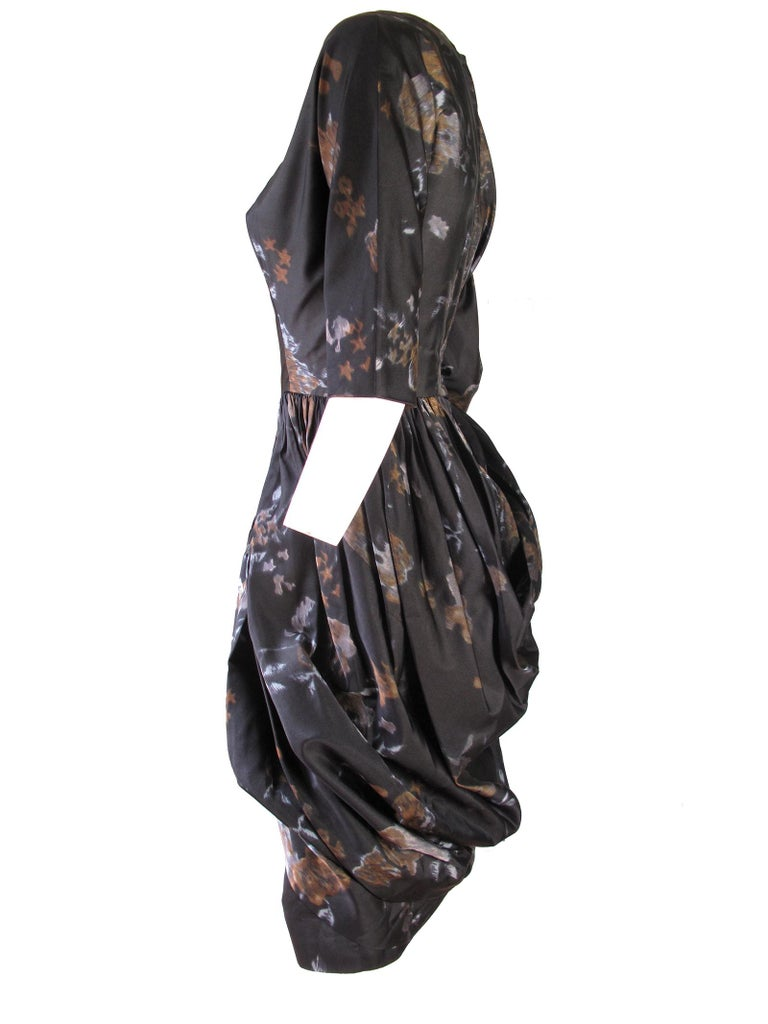 Gray Ceil Chapman Floral Silk Dress, 1950s  For Sale