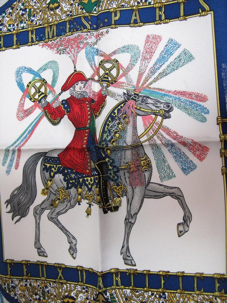 Beige Hermes Silk Scarf Feux Dartleice, 1987 For Sale