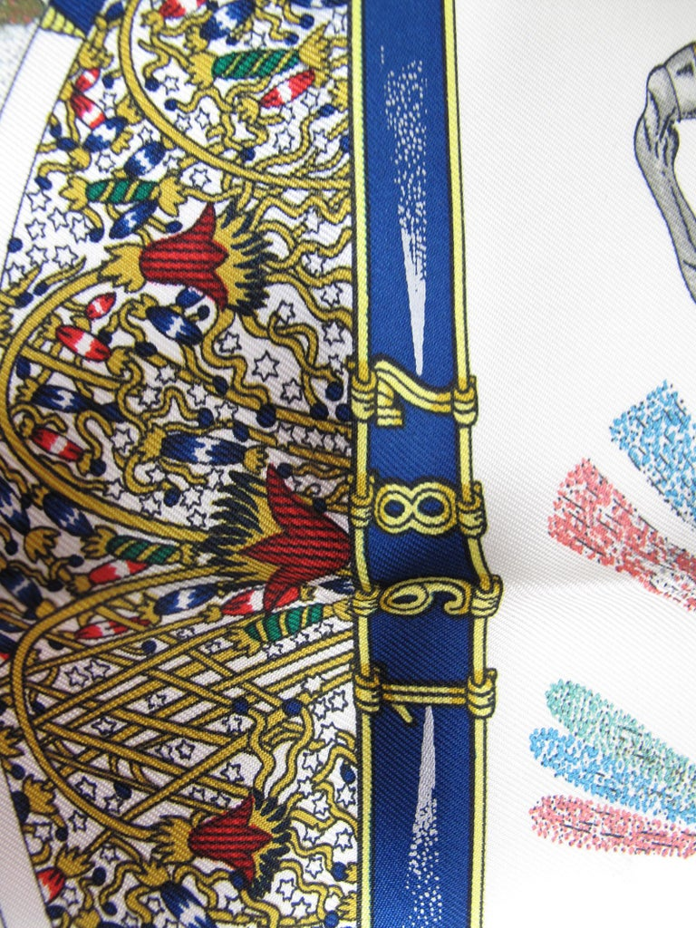 Hermes Silk Scarf Feux Dartleice, 1987 In Excellent Condition For Sale In Austin, TX