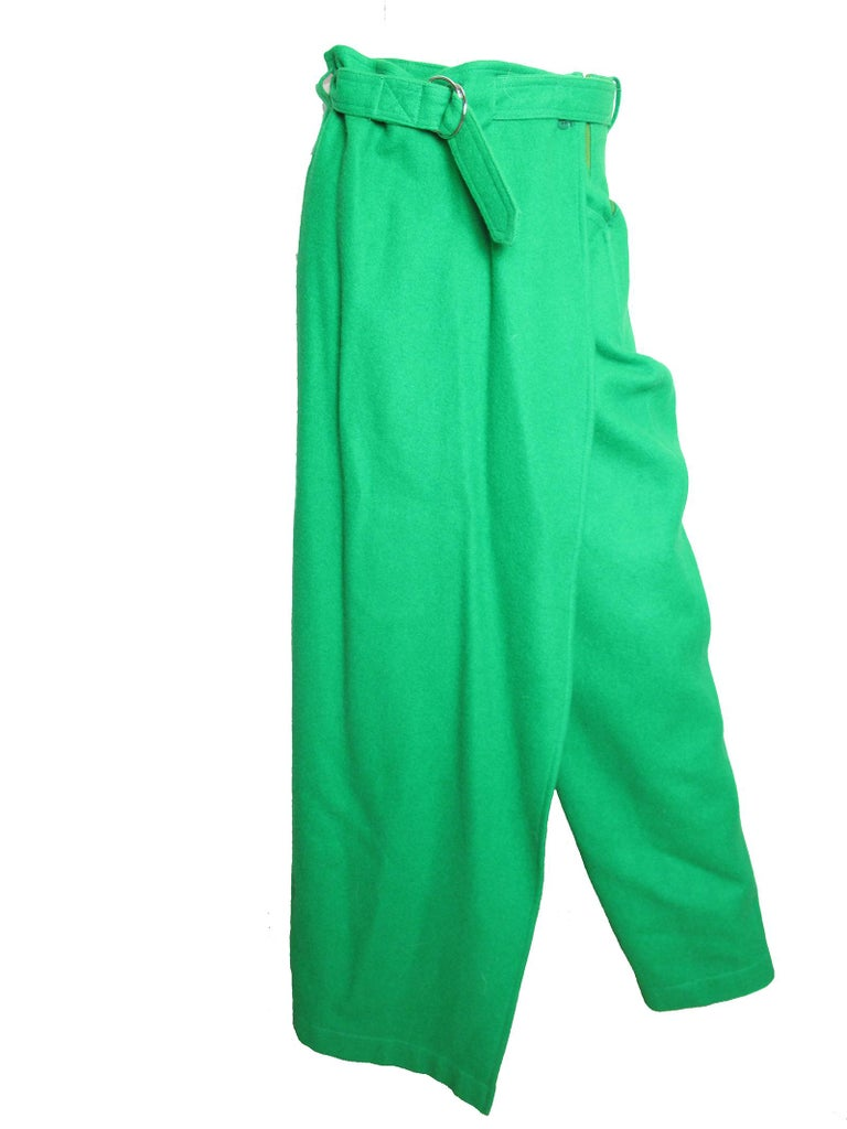Rare vest and Pants from Jean Charles de Castelbajac. Red and green wool. Interesting  pants with hanging fabric to look like half skirt. Condition: Excellent.  Size Medium (Mannequin is US size 6)  Pants Waist 28