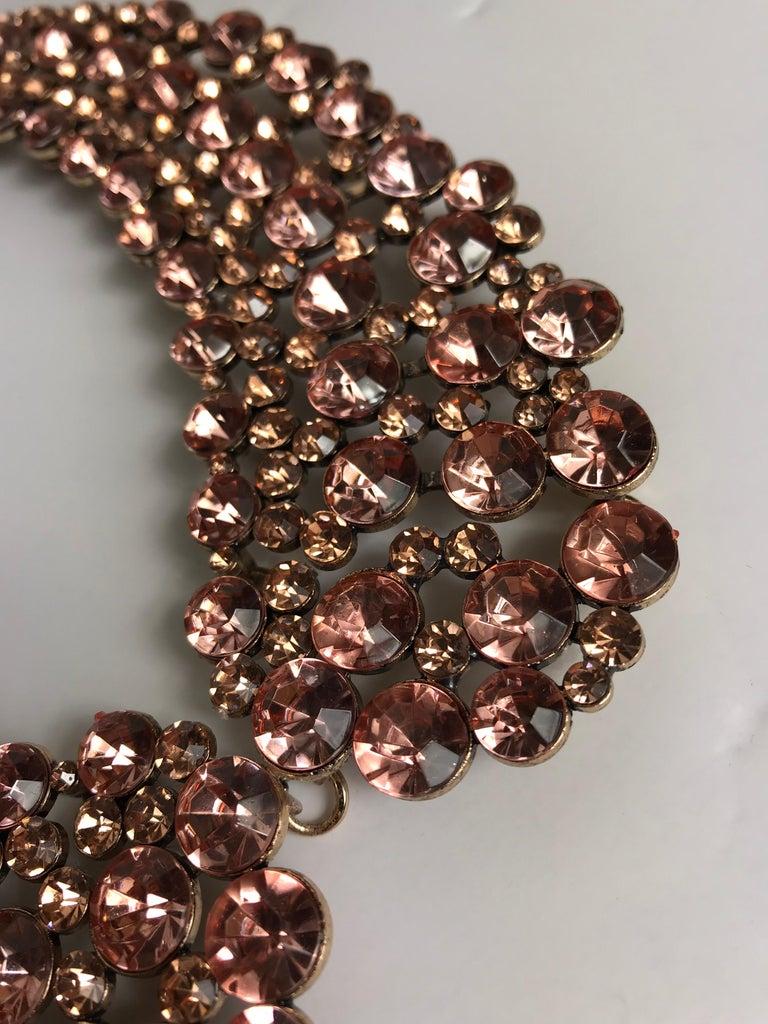 Oscar de la Renta Rhinestone Collar Pink  In Excellent Condition For Sale In Austin, TX