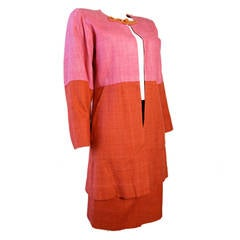 Yves Saint Laurent silk pink and orange jacket and skirt