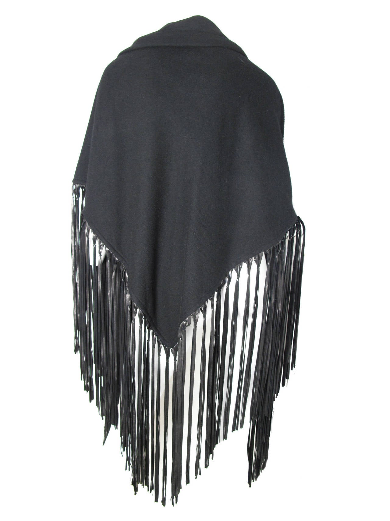 1980s Hermes Black Wool Shawl with Leather Fringe In Excellent Condition For Sale In Austin, TX