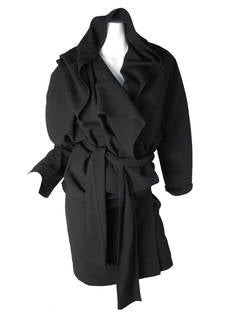 1980s Angelo Tarlazzi Black Dress with Hood and Slash on Back