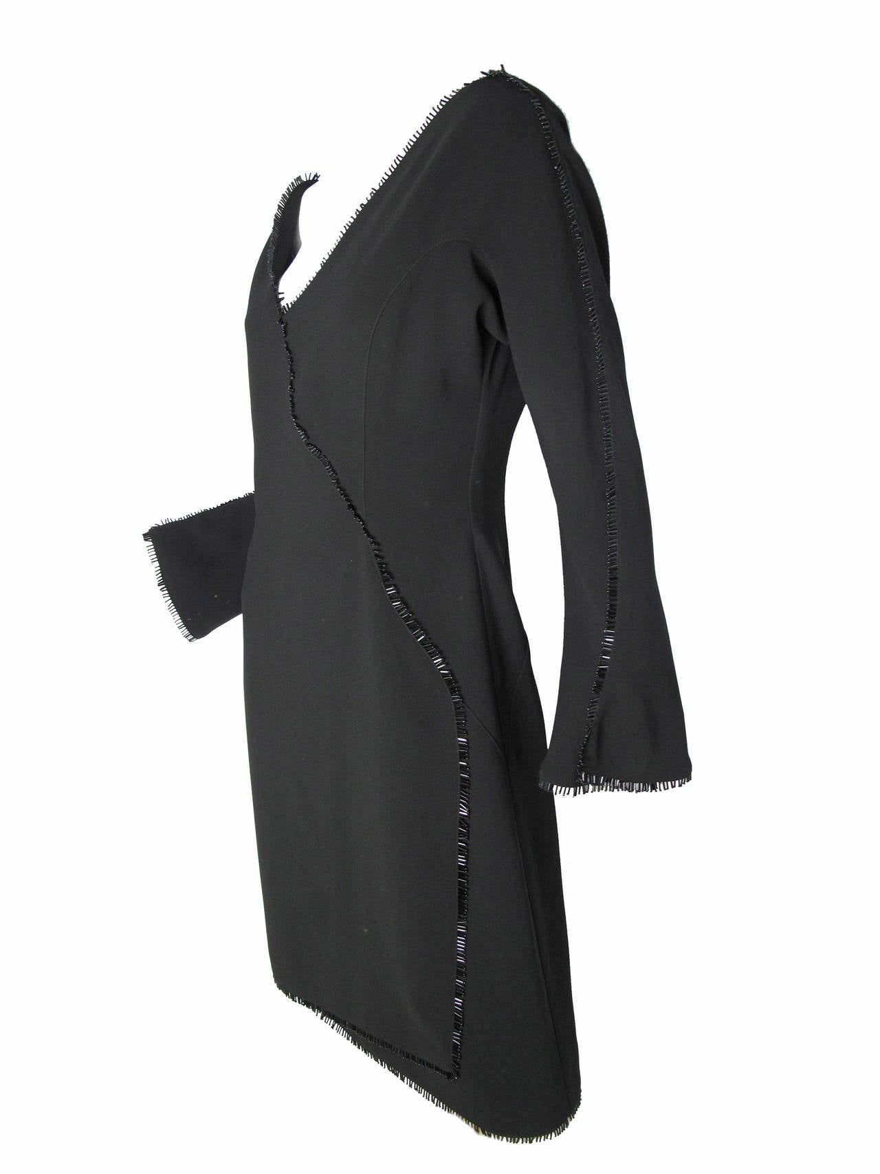 Thierry Mugler Black Cocktail Dress with Beading on Trim 2